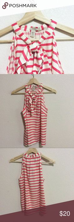 """Summery 100% silk striped bow blouse Perfect top for the summer time! Light, airy, and perfect for the Fourth of July! Like new, never worn. 🌸🌸 Note: My closet is open until July 15th! After July 15th, I will keep my items posted but """"not for sale"""" until August after I move! Some items may be donated in this time, so if there's something you like, snatch it up quick 🌸🌸 J. Crew Tops Tank Tops"""