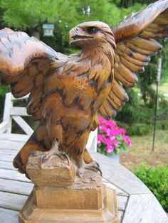 "Antique Swiss carved eagle w/pyrography. ""Black Forest""   Circa- turn of the Century Alpenholz Antiques"