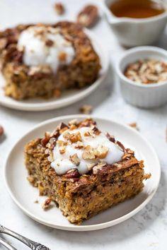 Pumpkin Protein Bars, Protein Oatmeal, Vegan Protein Bars, Vegan Protein Powder, Vegan Pumpkin, Healthy Pumpkin, Baked Pumpkin, Baked Oatmeal Recipes, Breakfast Recipes
