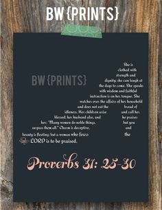 Shoe Print (Proverbs 31:25-30). $14.00, via Etsy.