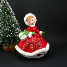 Christmas Lefton Music Box Girl in Red - Vintage 1970s Holiday Decor Plays Jingle Bells - Ceramic Musical Vintage Christmas Collectible