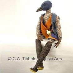 Western Bluebird (Sialia mexicana) Art Doll by Carmen Alana Tibbets at Agosia Arts