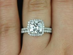 Catalina 14kt White Gold Cushion FB Moissanite and Diamond Halo Wedding Set (Other metals and stone options available)