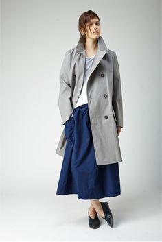 Grey coat | Plain dressing | Navy skirt | MHL Margaret Howell
