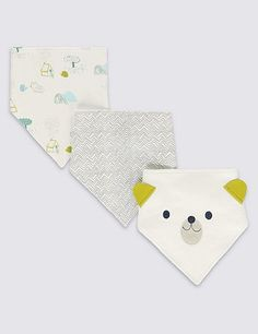 3 Pack Pure Cotton Dribble Bibs | Marks & Spencer London