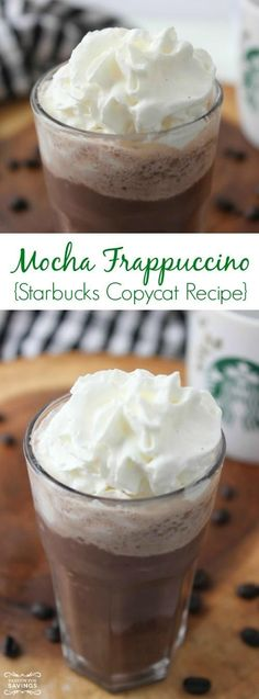 Check out this Copycat Starbucks Mocha Frappuccino Recipe! Easy Starbucks Copycat Recipe to make your favorite Frozen Coffee Drinks at Home and save money! Starbucks Mocha Frappuccino Recipe, Mocha Recipe, Starbucks Recipes, Coffee Recipes, Starbucks Drinks, Frappe Recipe, Drink Recipes, Easy Frozen Drink Recipe, Frozen Coffee Drinks