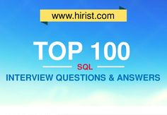 What are the top 100 SQL Interview Questions and Answers in 2014? Based on the most popular SQL questions asked in interview, we've compiled a list of the 100 …