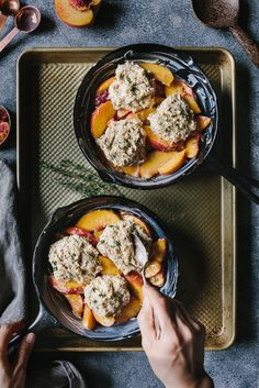 Peach Cobbler with Cornmeal Thyme Biscuits