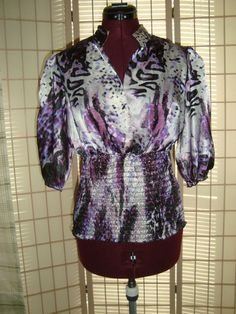 Candies Sz XL Purple Satin Puffy Sleeves and Stretch Waist Shirt Top #Candies #WrapFront
