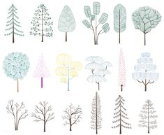 Illustration of pine trees collection Free Vector Logo Arbol, Illustrator, Vegetable Garden Planning, Illustration Blume, Tree Sketches, Pine Tree, Free Illustrations, Autocad, Vector Free