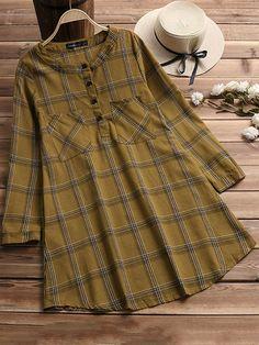 Stand Collar Long Sleeve Plaid Shirt Dress #vintagedresses #vintagelovers #vintageoutfits #vintagestyle #1950sstyle