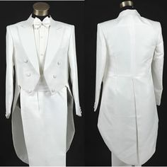 Men White Double Breasted Vintage Edwardian Style Wedding Tuxedo Suits SKU-10108004