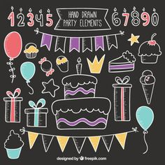 Chalkboard Elements Vectors, Photos and PSD files Chalkboard Calendar, Chalkboard Lettering, Chalkboard Signs, Happy Birthday Chalkboard, Birthday Bulletin Boards, Chalk Design, Chalk Wall, Chalk Drawings, Frame Crafts