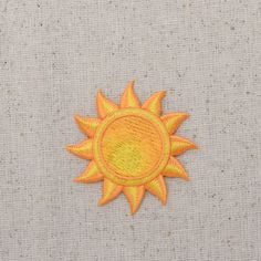 Yellow Sun - Tropical - Summer - Iron on Applique - Embroidered Patch - Cute Patches, Diy Patches, Pin And Patches, Iron On Patches, Crewel Embroidery Kits, Embroidery Patches, Embroidery Designs, Iron On Embroidered Patches, Yellow Sun