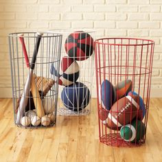 love these wire baskets for kid stuff