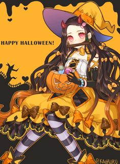 Nezuko Kamado - Favourite anime's - halloween art Anime Halloween, Halloween Art, Happy Halloween, Anime Girl Neko, Chica Anime Manga, Anime Chibi, Demon Slayer, Slayer Anime, Anime Demon