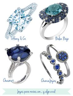 """Anillos, solitarios y alianzas con un toque de """"y algo azul"""" #novias #bride #ring"""