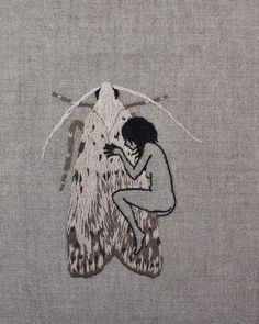 Goth girls, moth girls. Goodnight.  Hand embroidery on natural linen.  #handembroidery #kafka #fridaynightartdorks