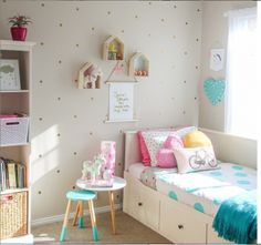 Jen has styled her daughter's room with some gorgeous Kmart goodies. Featuring the Kmart stool, table, marquee heart, bedding, blanket, storage baskets and cushions.