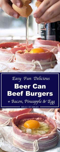 Baked Beer Can Burgers, stuffed with onion, pineapple and egg then wrapped in bacon. Simply delicious, serve with salad or on a bun.