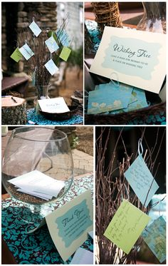 "As guests arrive, they leave sweet notes with well wishes for the bride and groom on the ""Wishing Tree"" made from tree branches placed in a vase of bird seed. In addition, guests fill in their names and addresses on blank envelopes, making it super easy for the bride and groom to send out thank you cards (saves lots of time on having to look up addresses & address envelopes)...great idea!!"
