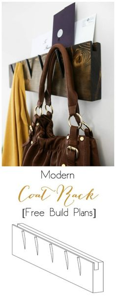 Make your own modern industrial coat rack with these free build plans! The perfect DIY idea to organize any entryway! Love the mail slot on top :)
