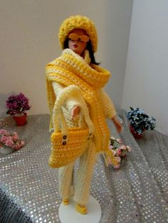 New Handmade Crocheted Silkstone Barbie Clothes Yellow Outfit w Hat, Scarf, Bag #Handmade