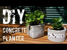 Create your own inexpensive tabletop DIY concrete planters that are decorated with geometric patterns and are the perfect size for succulents. Large Concrete Planters, Concrete Bowl, Cement Planters, Diy Planters, Decorative Concrete, Planter Ideas, Concrete Crafts, Concrete Projects, Diy Projects