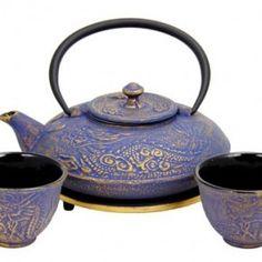 Purple Cast iron tea set