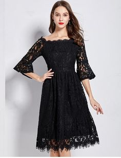 Plus Size Lace 3 4 Flare Sleeve Office Party Dress L - 5XL 8b716b80cbf8