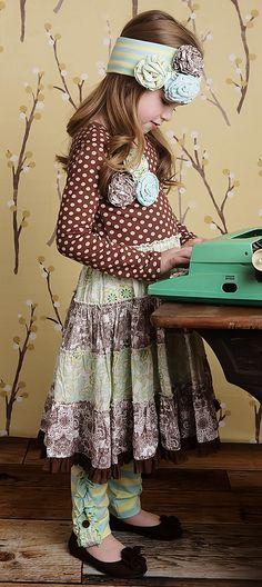 Mustard Pie Brown Polka Dot Girls McKenna Dress