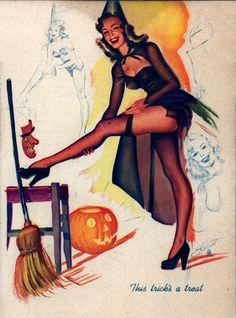 This trick is a treat from the pin up files at http://www.thepinupfiles.com/elliot/ELLIOT_img_15.jpg
