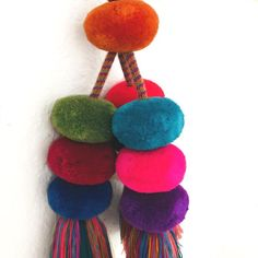 Mexican Chiapas Handmade Pom Poms Handmade Dimensions: Height inches Height with cord included: inches Each set has 9 giant pom poms on handy braided cords and 3 big tassels. ***PRICE IS FOR ONE SET OF POMPOMS***** Picture Show, Little Ones, Spiral, Tassels, Crochet Necklace, Handmade, Hand Made, Crochet Collar, Tassel