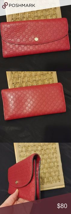 Authentic Gucci Hibiscus Red Signature Continental Used Gucci Signature Continental Wallet in Hibiscus Red. This wallet has some wear on the sides but the front and back are in great shape (see photos). The inside has a few scuffs. Elegant addition to any handbag. Serial number in photos. Gucci Bags Wallets