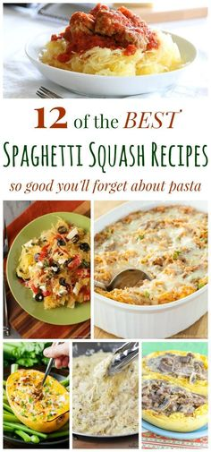 12 of The Best Spaghetti Squash Recipes – these low carb, gluten free, and veggie-packed meals are so good you'll forget about pasta. Low Carb Recipes, Cooking Recipes, Healthy Recipes, Cooking Ideas, Healthy Dinners, Pasta Recipes, Healthy Foods, Free Recipes, Best Spaghetti Squash Recipes