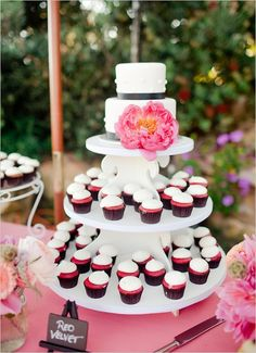 So we could totally do the cupcake tower idea with mini cupcakes! What do you think, Soph? Wedding Sweets, Wedding Cupcakes, Wedding Cake Inspiration, Wedding Ideas, Cupcake Display, Cute Cupcakes, Cake Art, Dessert Table, Beautiful Cakes