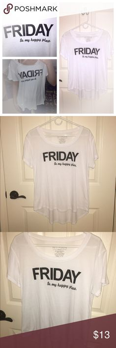 "Spotted while shopping on Poshmark: ""FRIDAY is my happy place"" t-shirt!! #poshmark #fashion #shopping #style #Fifth Sun #Tops"