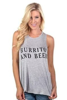 Burritos And Beers Graphic Racer Back Tank Top