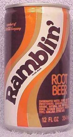 Ramblin' Root Beer clad can photo -product of Coca - Cola 1975-1983) - no high fructose corn syrup just sugar.