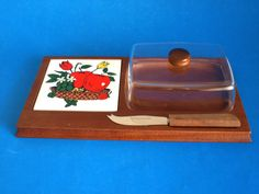 Vintage Wooden Cheese Board with Apples Flowers by FunkyKoala