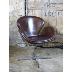 Spitfire Aviator Aviation Chair For The Office Brown Distressed Leather With Aluminium Backed Metal Detail, Best Seller 2018 Distressed Leather, Brown Leather, Swivel Office Chair, Furniture Care, Bar Seating, Vintage Bar, Office Ideas, Aviation, Chrome