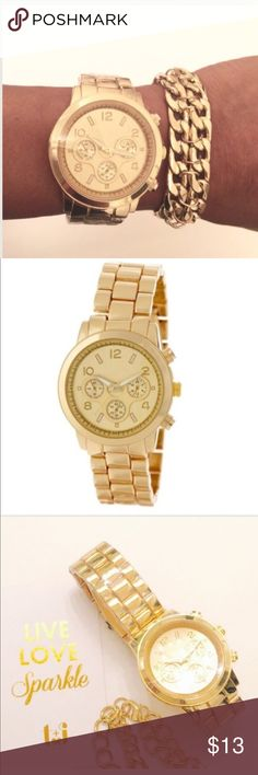 T&J Classic Link Watch T&J Designs beautifully crafted gold link watch with tri-fold buckle  and removable links to adjust the length.   *Bracelet sold separately🌷  🚫Trades ✅Price Firm, Bundle to save on shipping T&J Designs Accessories Watches