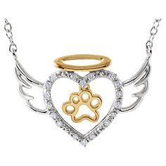 "Sterling Silver .08 CTW Diamond Angel Heart Paw 18"" Necklace Bonyak Jewelry http://www.amazon.com/dp/B00MEYH4ZE/ref=cm_sw_r_pi_dp_cR25tb00ZGT7E"