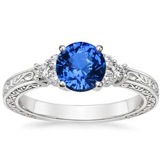 sapphire adorned trio diamond ring - Scottish Wedding Rings