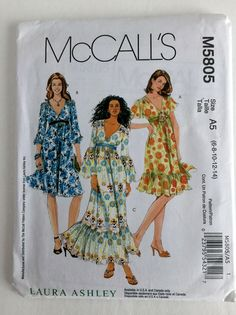 McCalls Misses Boho Gypsy Fitted Empire Bodice Dress Sewing Pattern M5805 UC FF Uncut Size 6 8 10 12 14 by Vntgfindz on Etsy