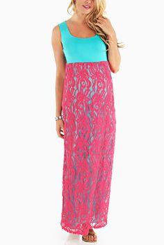 Aqua-Fuchsia-Lace-Colorblock-Maternity-Maxi-Dress #lacemaxidress #maternitymaxis #cutematernityclothes