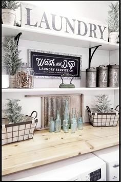 Small Space Living Solutions - Planning my small laundry room makeover and I love farmhouse rustic laundry room ideas so I'm thinking about these white laundry room shelves in my tiny laundry utility Rustic Laundry Rooms, Tiny Laundry Rooms, Laundry Room Remodel, Farmhouse Laundry Room, Laundry Room Storage, Laundry Room Design, Farmhouse Decor, Farmhouse Style, Basement Laundry
