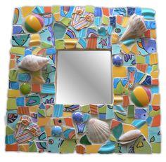 Tropical, Beachy Broken China Mosaic Mirror Pique Assiette. $45.00, via Etsy.