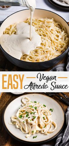 For a winning meal, serve this Easy Vegan Alfredo Sauce topped on freshly-cooke. - For a winning meal, serve this Easy Vegan Alfredo Sauce topped on freshly-cooked pasta. Vegan Dinner Recipes, Whole Food Recipes, Vegetarian Recipes, Healthy Recipes, Vegetarian Soup, Cooking Recipes, Easy Cooking, Easy Vegan Dinner, Cooking Pasta