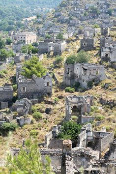 """In 1923 the Greeks living in Kayakoy, Turkey departed after a population exchange between the Greek and Turkish governments was mandated, leaving it an abandoned village. Some two million families, Greek Christians and Turkish Moslems alike, were uprooted from the homes and the country they had lived in, many for generations.  Today some 500 original homes remain in Kayakoy, all now in ruins."""